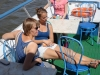 Relaxen auf dem Boot auf der Moskwa